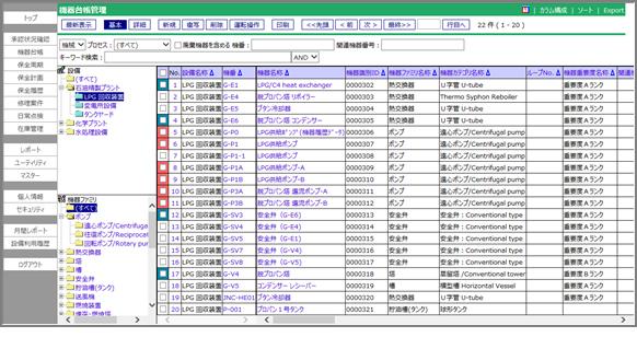 図1.機器台帳管理の画面