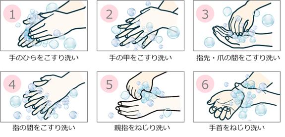 図1 正しい手の洗い方6ステップ