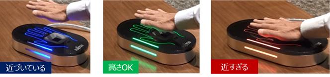図3 手のひら静脈認証センサーの光ユーザーインターフェースによる認証イメージ